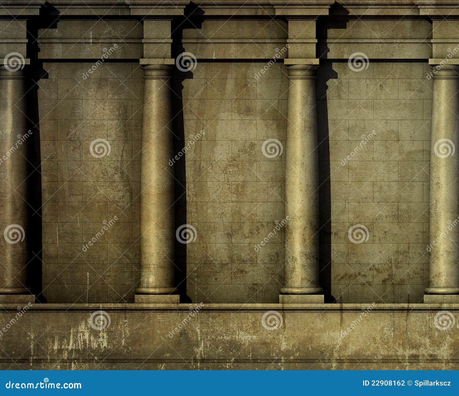 La parete romana greca di architettura classica 3d rende for Architettura classica