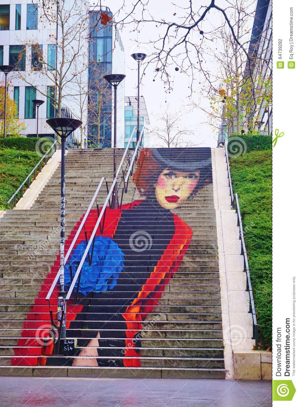 La Parisienne Street Art Wall Painting Of A Staircase On Rue Du