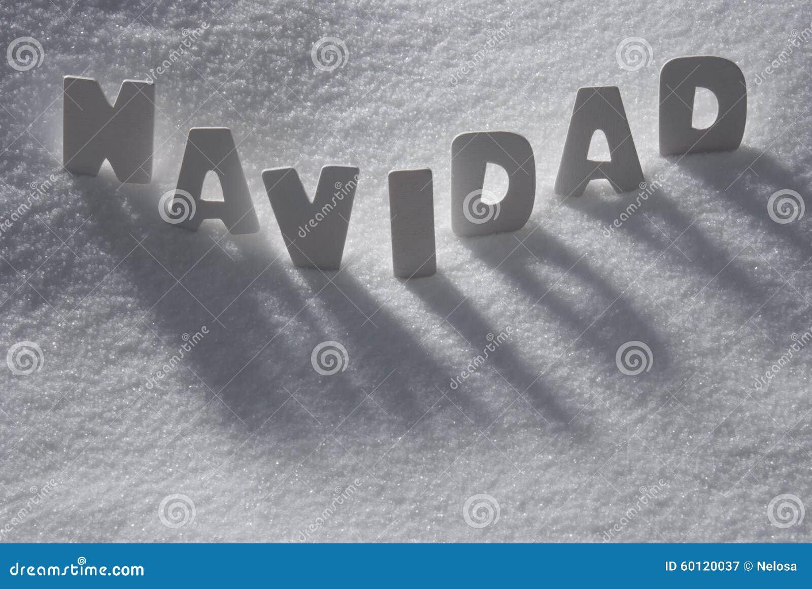 La Parola Natale Significa.La Parola Bianca Navidad Significa Il Natale Su Neve Fiocchi Di Neve Immagine Stock Immagine Di Lettere Allegro 60120037