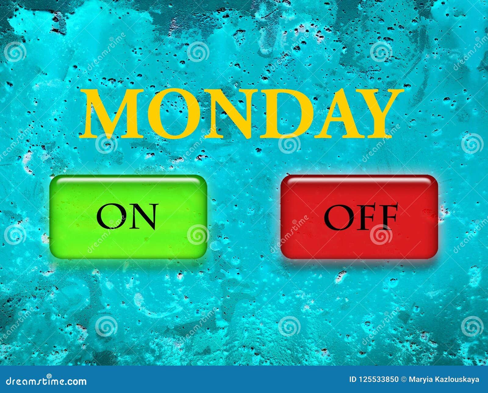 La parola lunedì è stampata nelle lettere gialle su un fondo strutturale del turchese come pure in un verde sul bottone ed in un