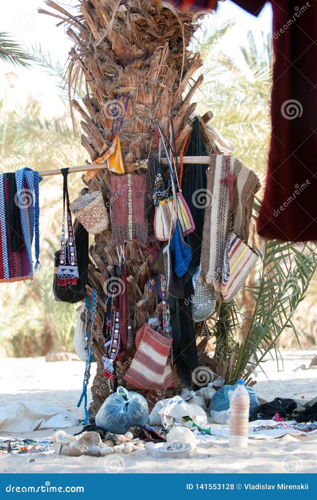 La paume dans un village bédouin dans la péninsule du Sinaï est utilisée comme endroit pour stocker des choses