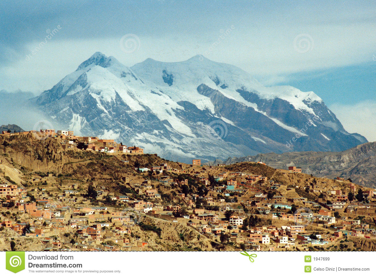 La Paz and Illimani mountain