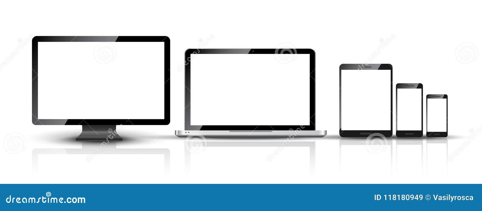 La PC del monitor de computadora, del smartphone, del ordenador portátil y de la tableta diseña Sistema digital elegante del disp