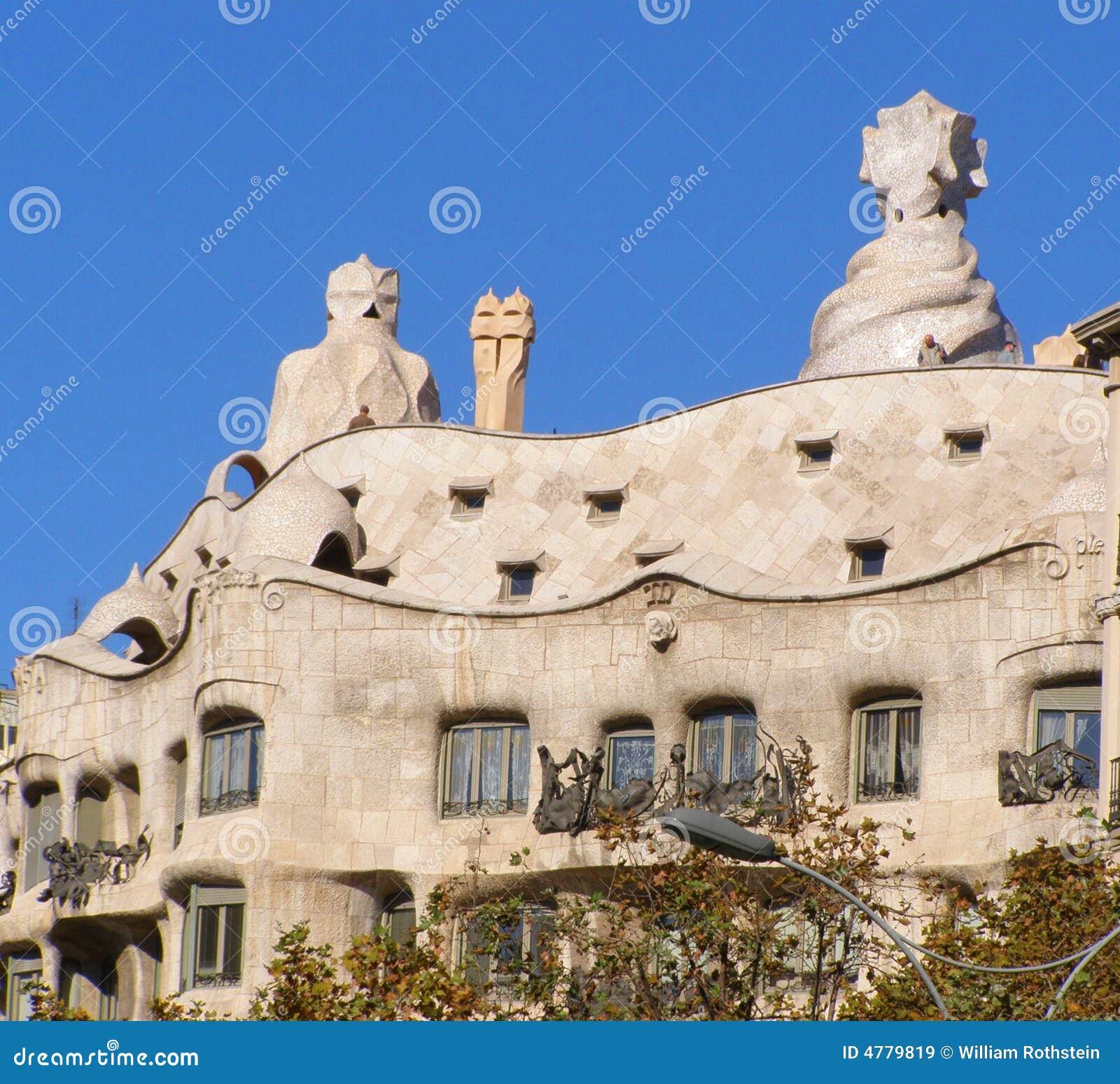 Barcelona Apartment View: La Pedrera Gaudi Apartment Building-Barcelona Editorial
