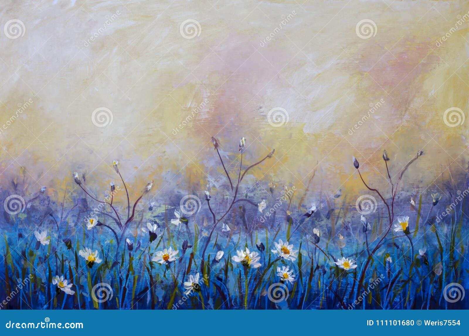 La Peinture à L'huile Des Fleurs, Beau Champ