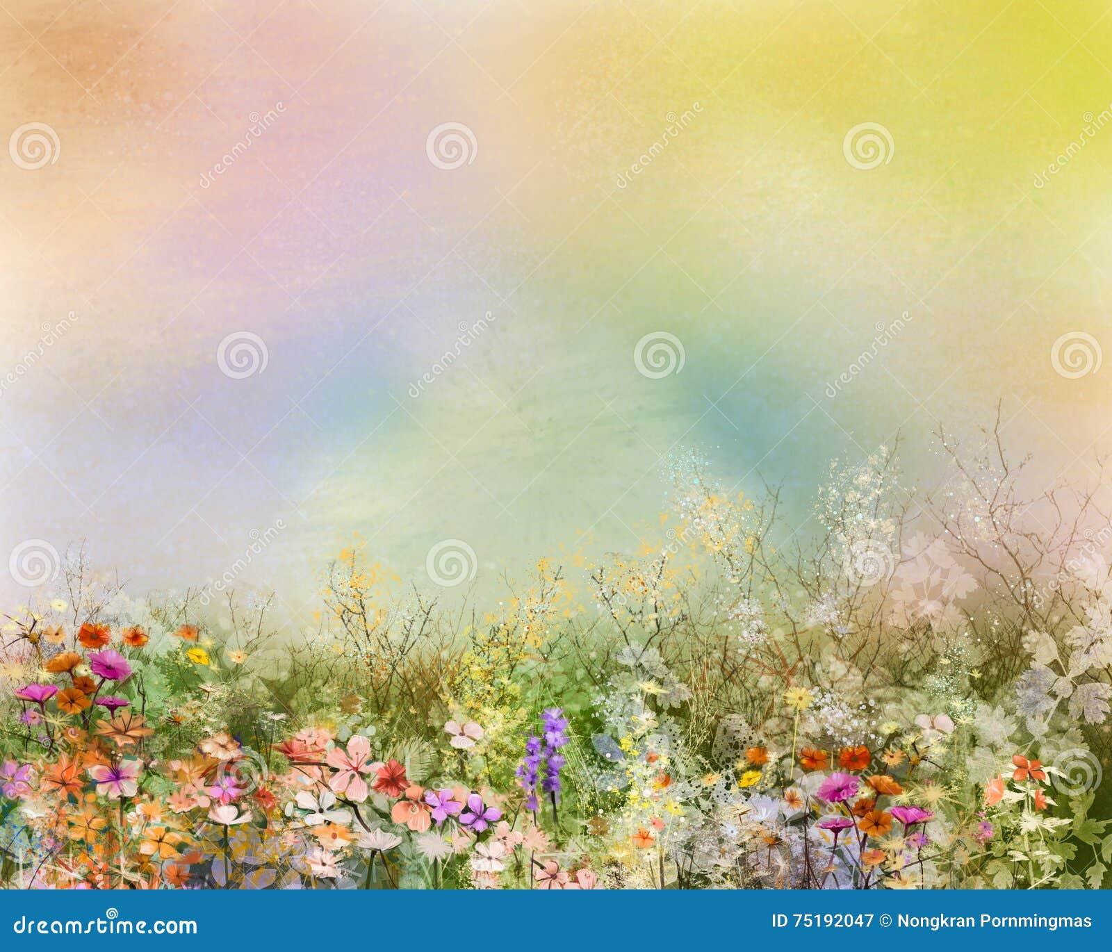 La peinture à l huile fleurit l usine Cosmos pourpre, marguerite blanche, bleuet, wildflower, fleur de pissenlit dans les domaine