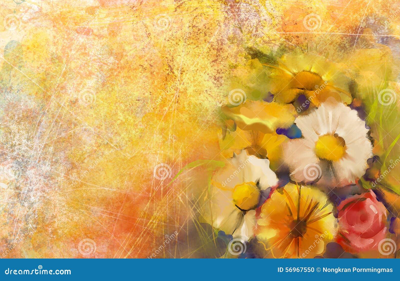 La peinture à l huile un bouquet de a monté sur le pape grunge