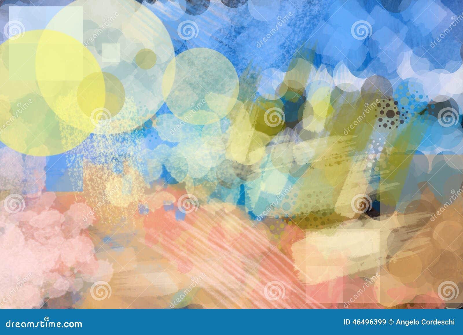 La peinture colorée de brosse de fond abstrait arrondit, raye