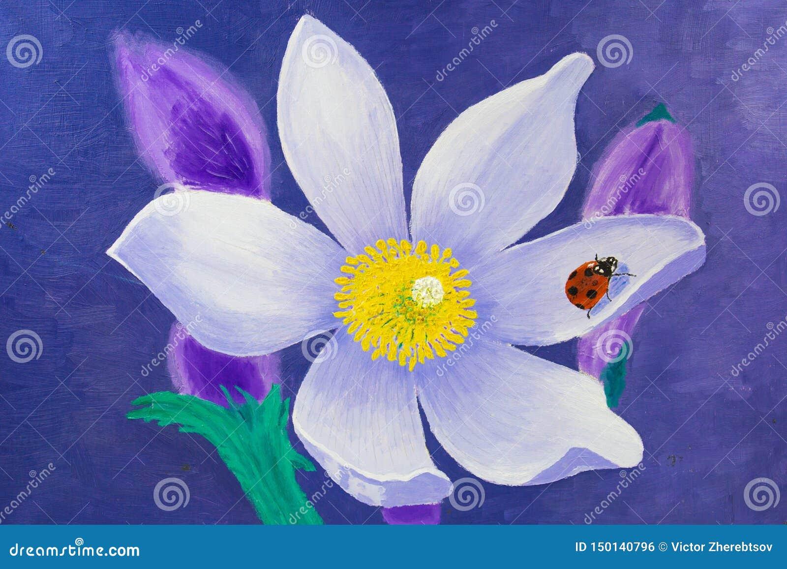 La peinture est faite en huile Fleur de Lotus blanc avec une coccinelle rouge sur une feuille