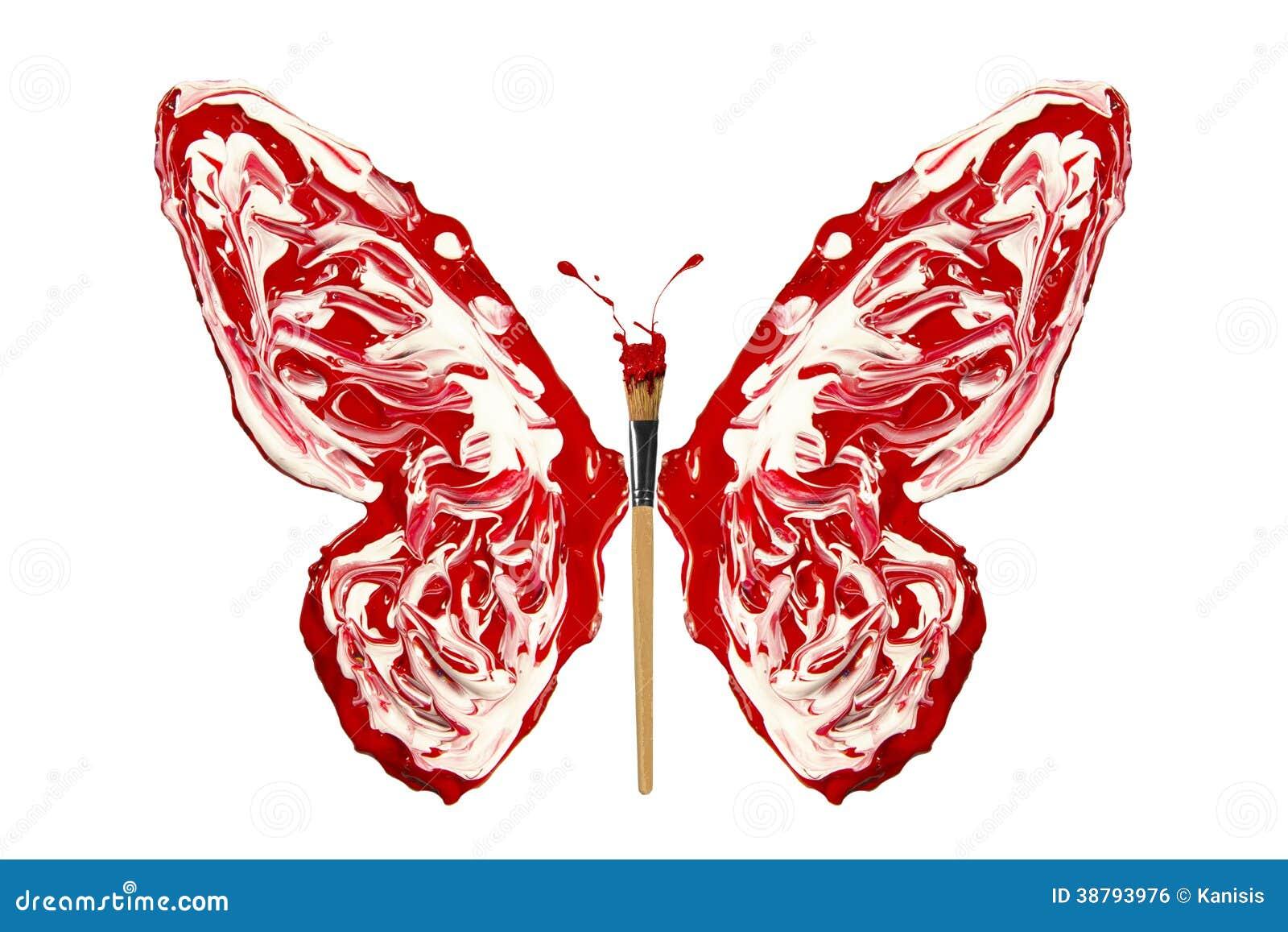 la peinture et le pinceau rouges blancs ont fait le papillon illustration stock image 38793976. Black Bedroom Furniture Sets. Home Design Ideas