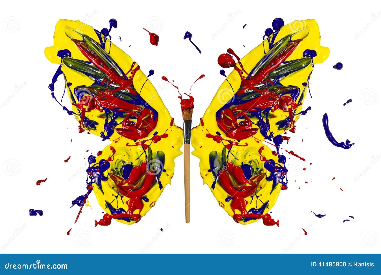 la peinture jaune de rouge bleu a fait le papillon illustration stock illustration du image. Black Bedroom Furniture Sets. Home Design Ideas