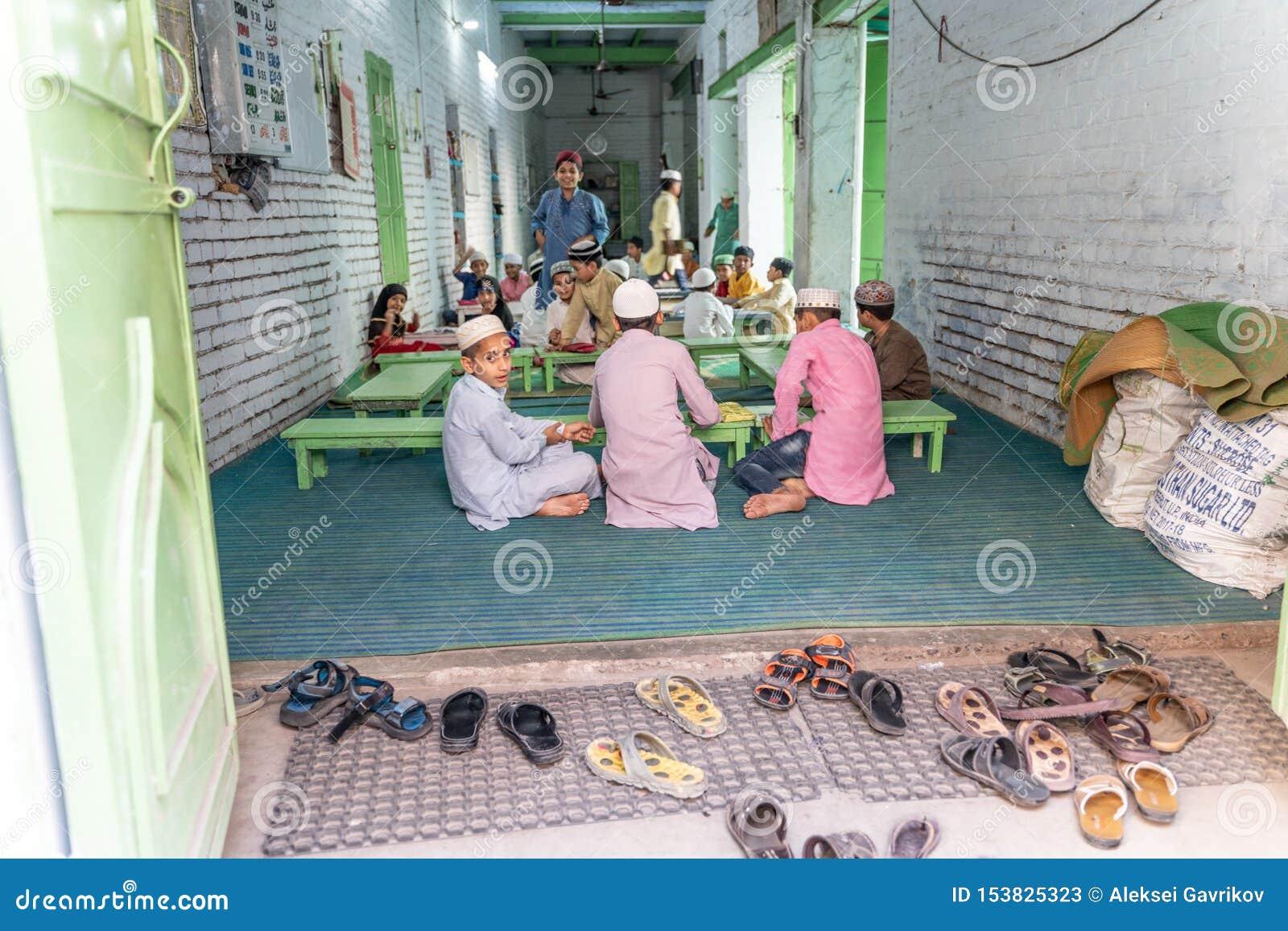 La pequeña escuela musulmán privada en la India