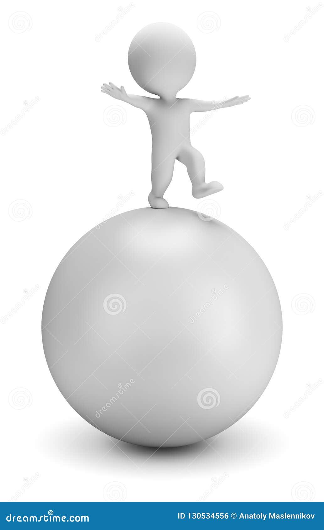 La pequeña gente 3d - equilibra en la bola