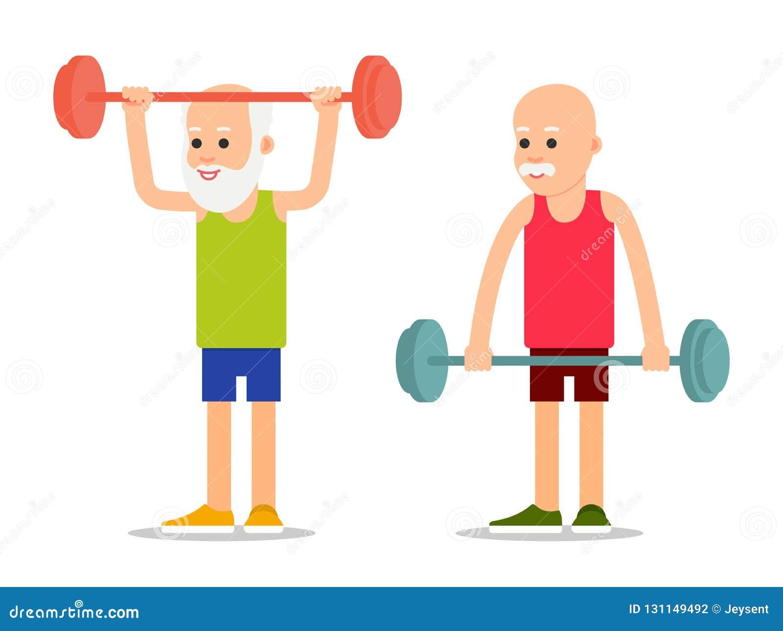 La persona anziana si esercita al sollevamento del bilanciere Sportsm anziano