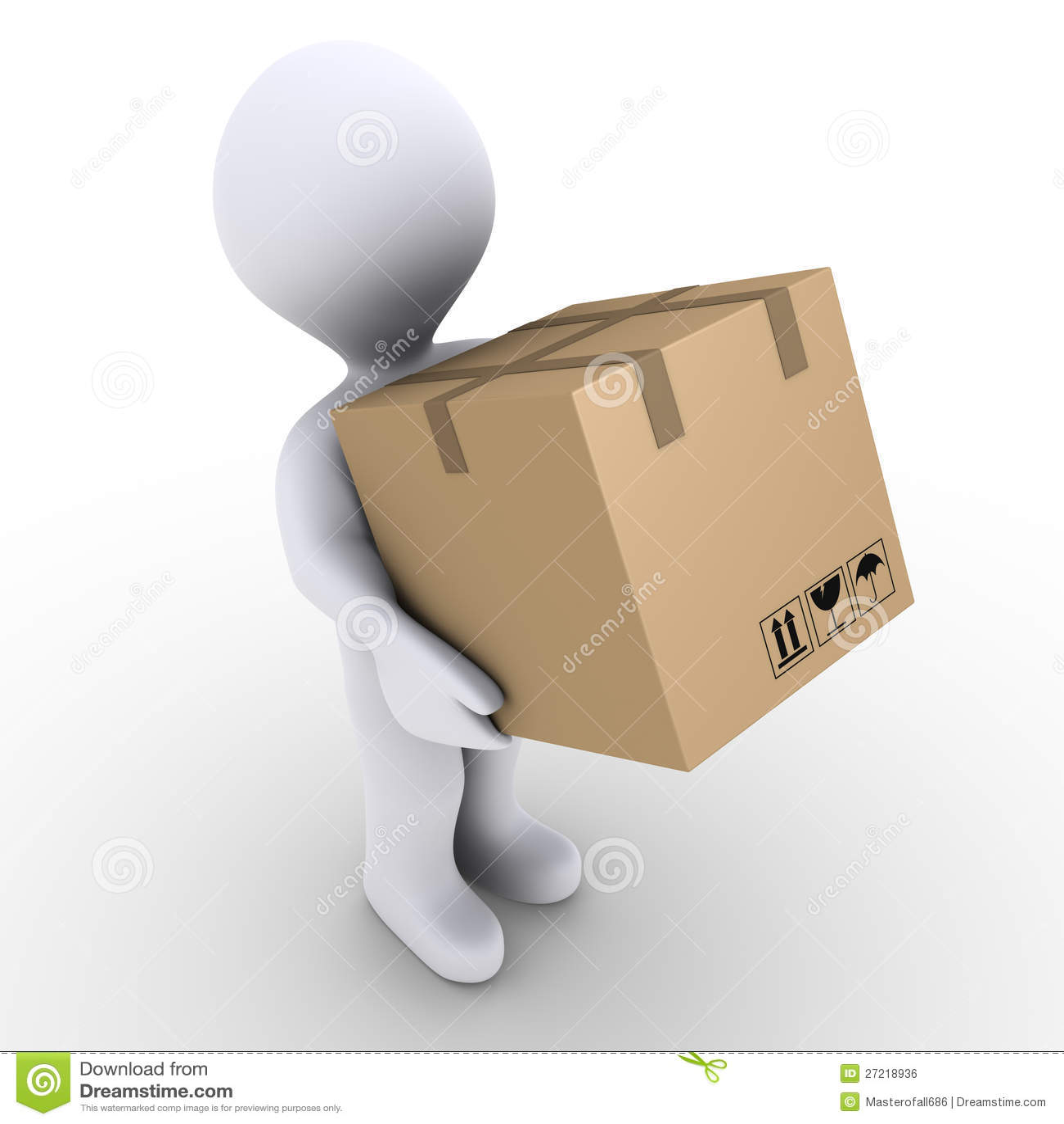 La persona lleva el rectángulo del cartón