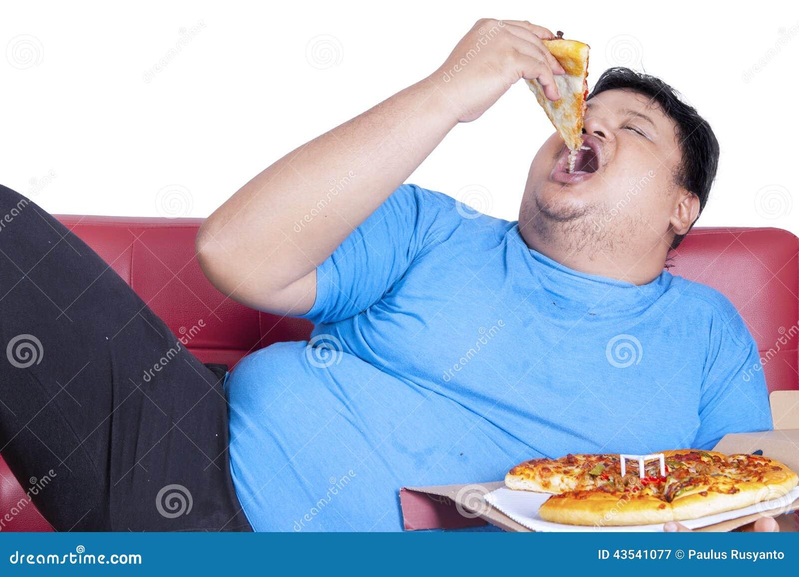 La Persona Obesa Come La Pizza 2 Foto de archivo - Imagen: 43541077