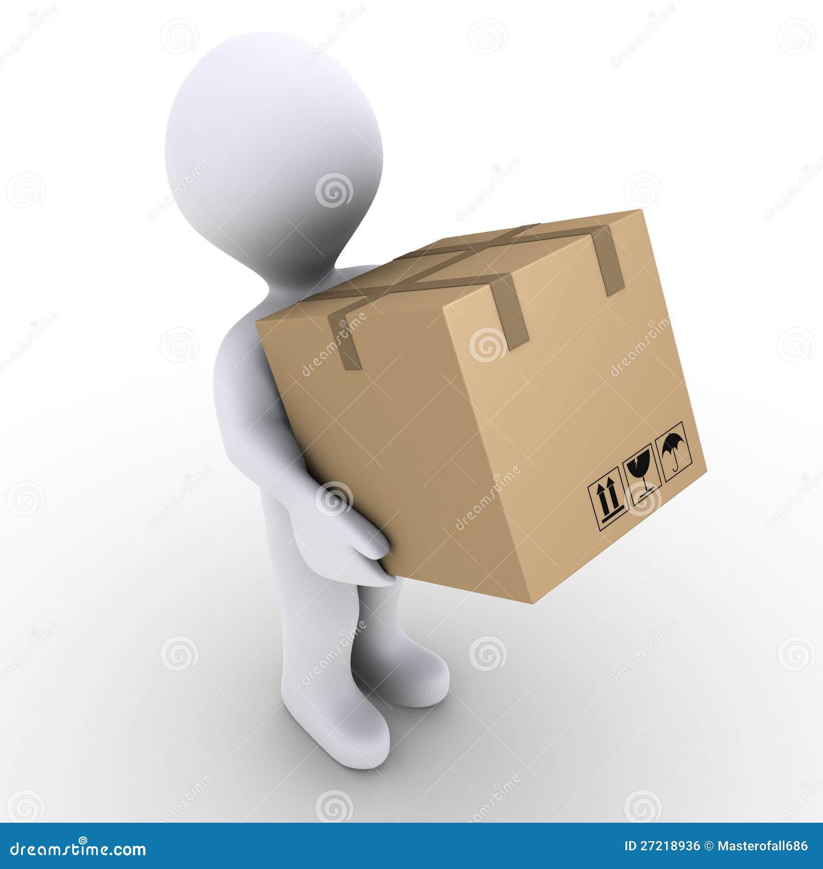 La personne porte le cadre de carton