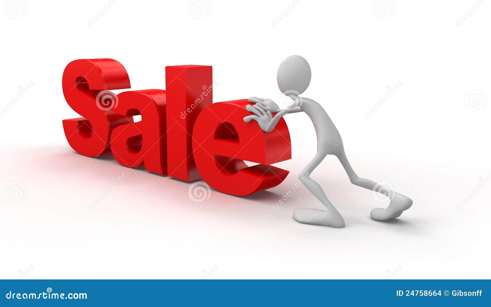La personne pousse la vente