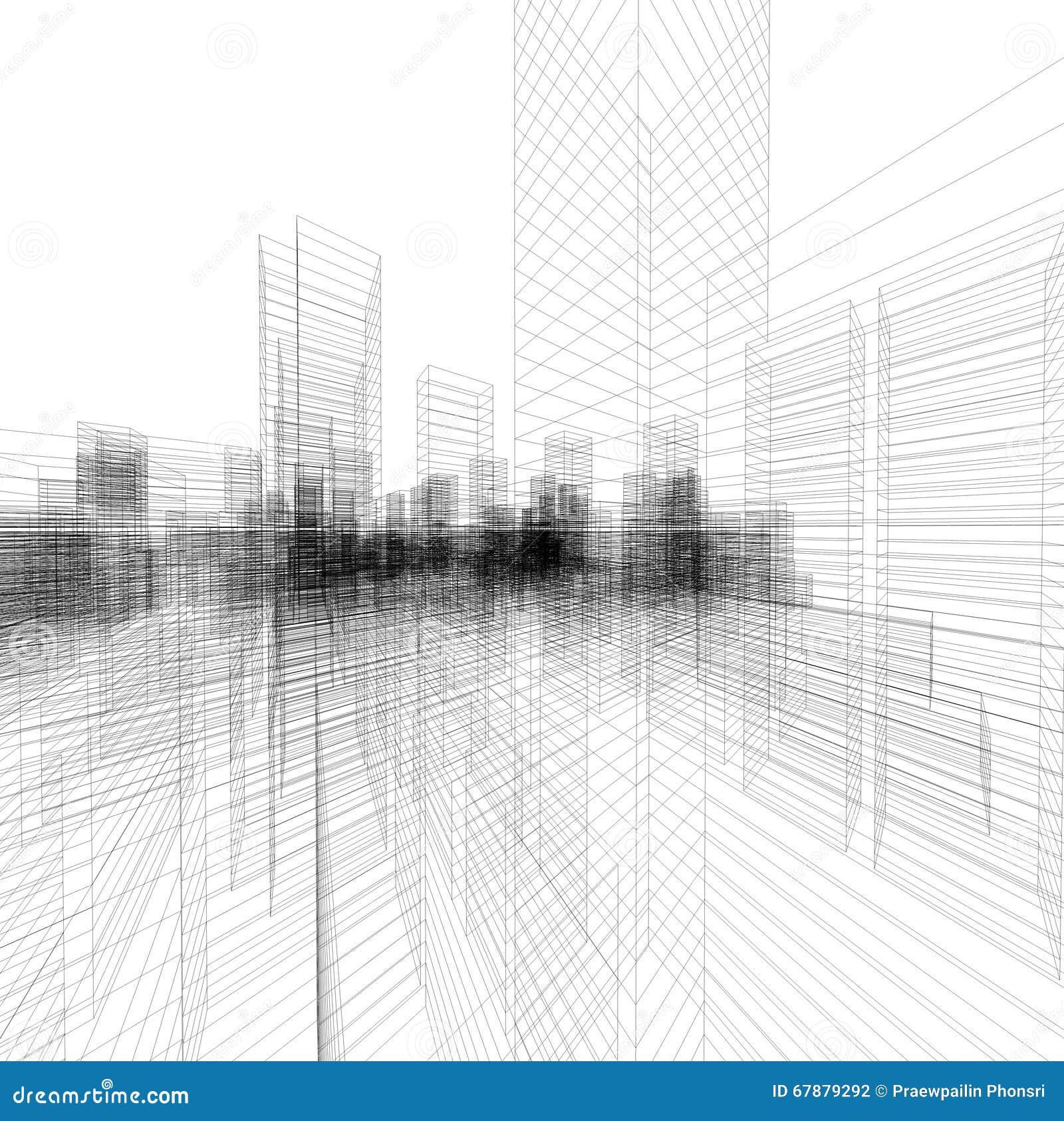 La perspective 3D rendent du wireframe de bâtiment