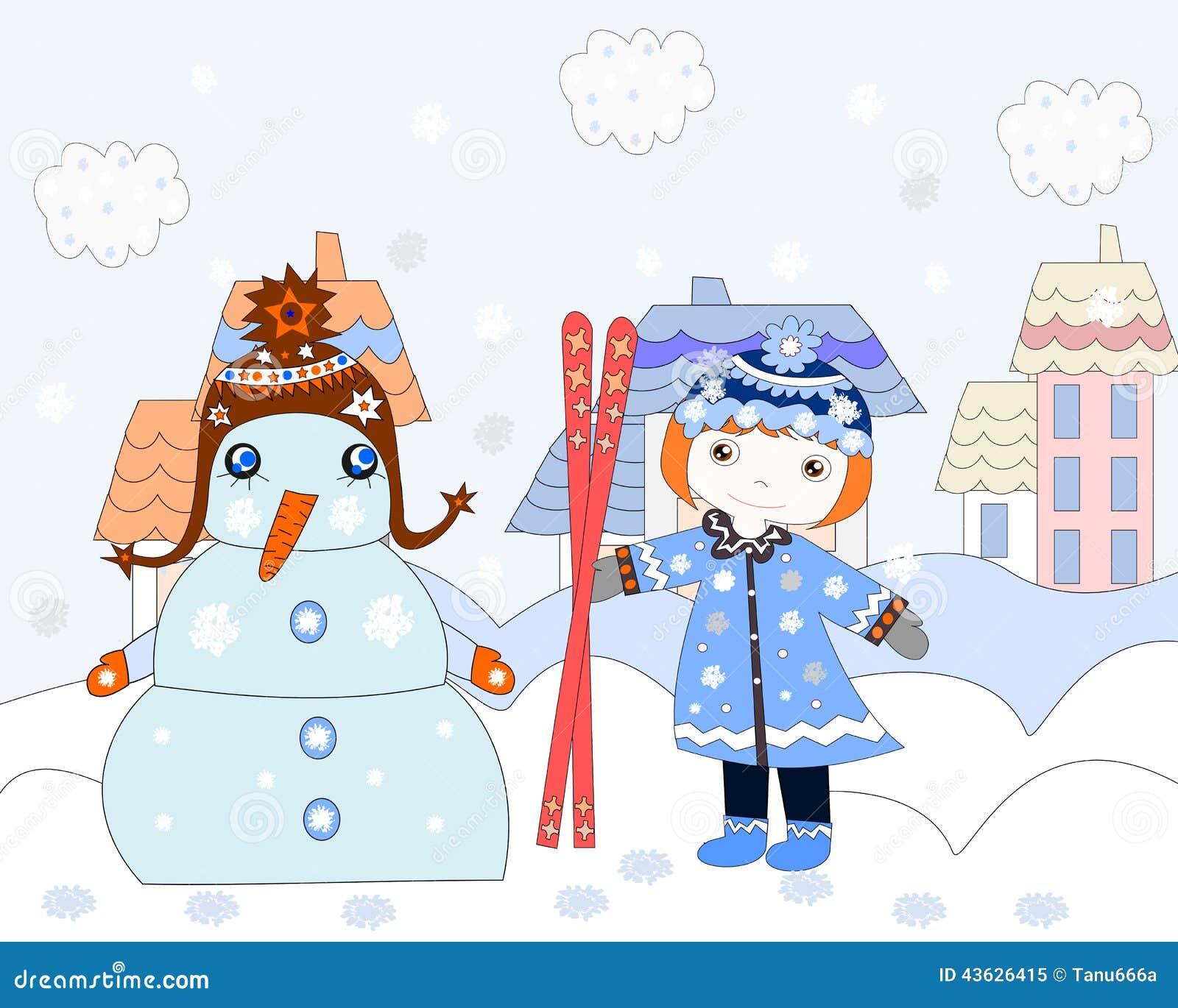 La petite fille tire le bonhomme de neige de ski hiver illustration stock illustration du - Bonhomme fille ...