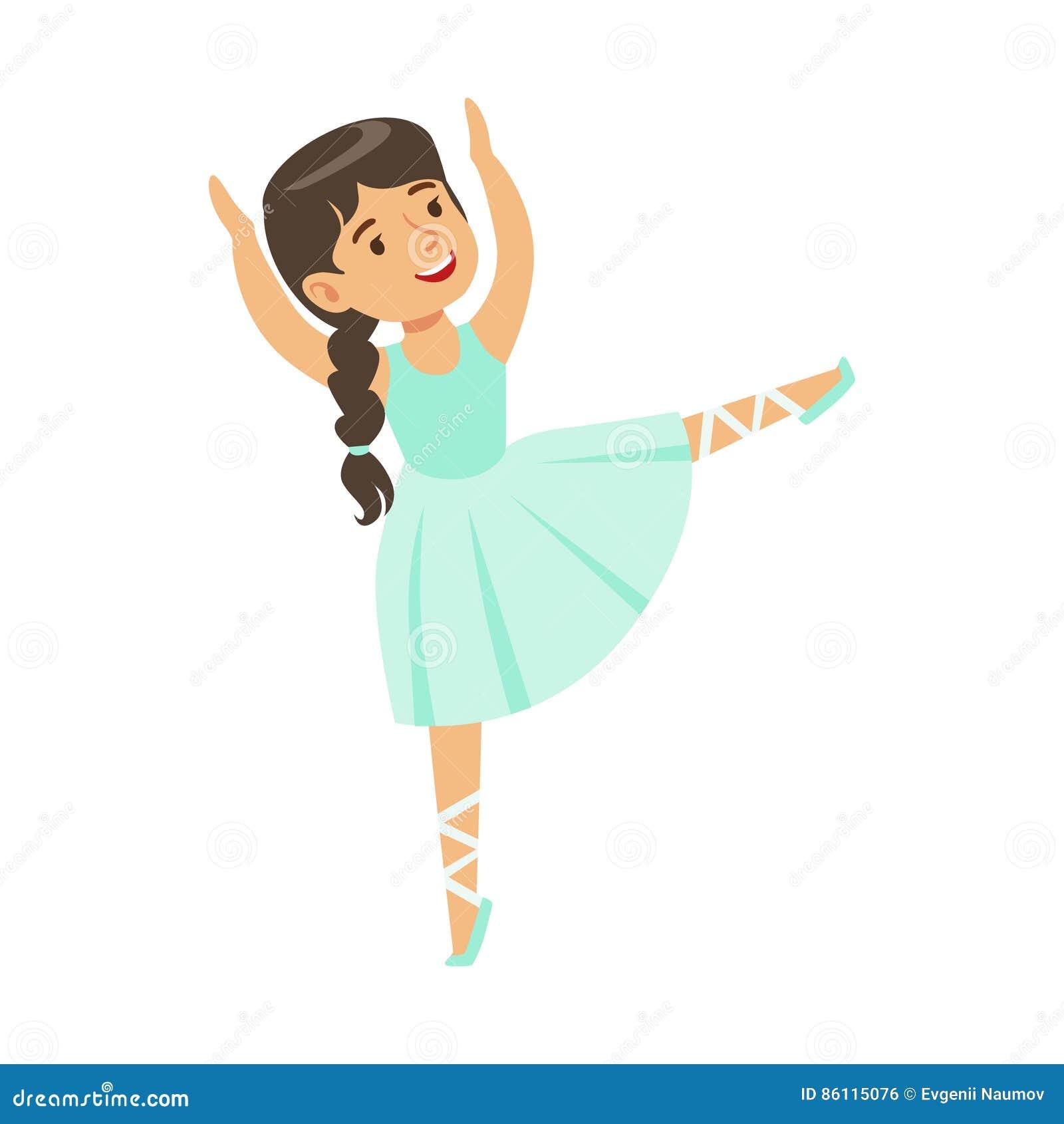 La petite fille dans la robe bleue avec Plat le ballet de danse dans la classe de danse classique, future danseuse professionnell