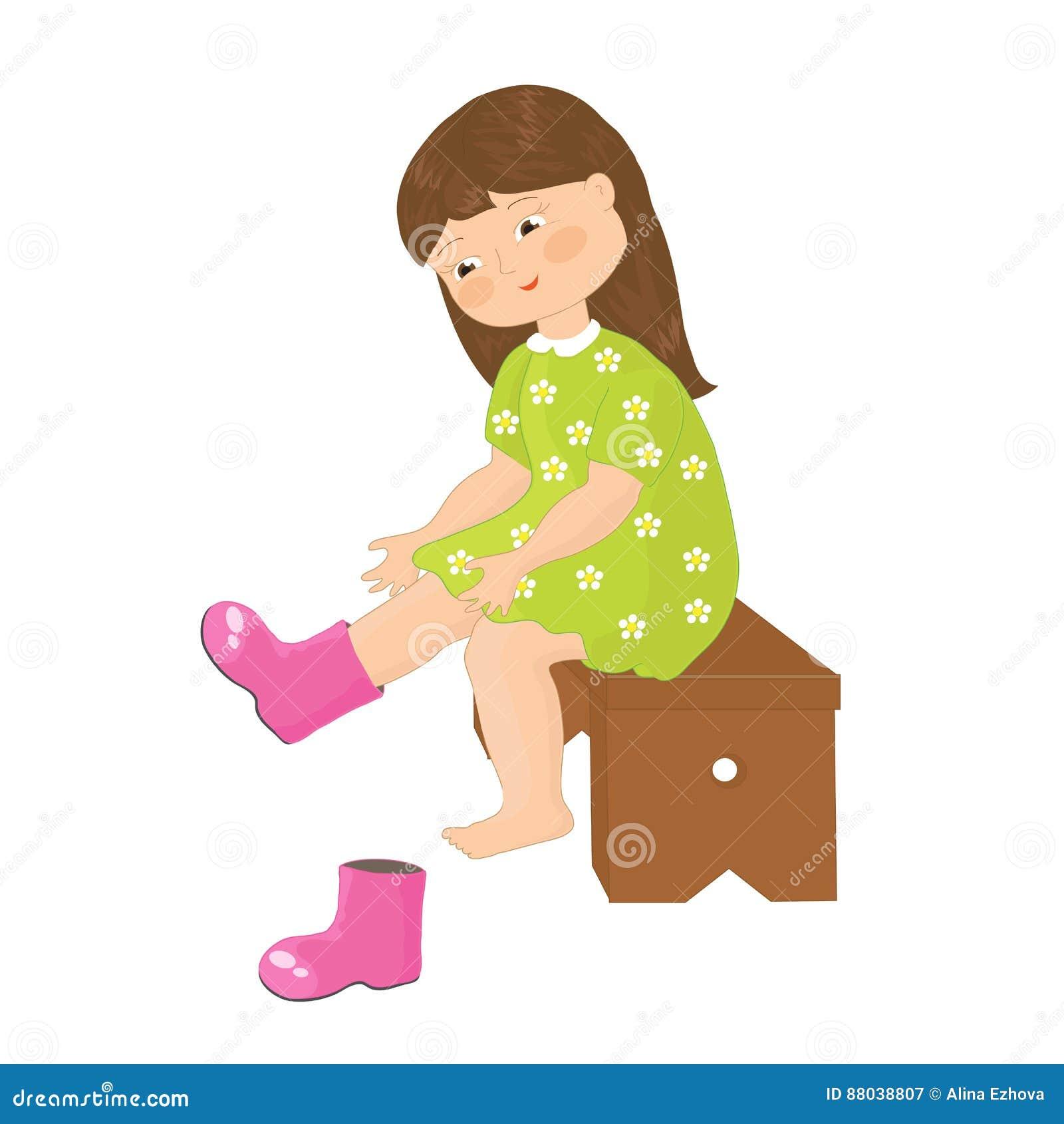 Des Illustration La De Fille Petite Met Bottes Dessus 8nym0ONwv