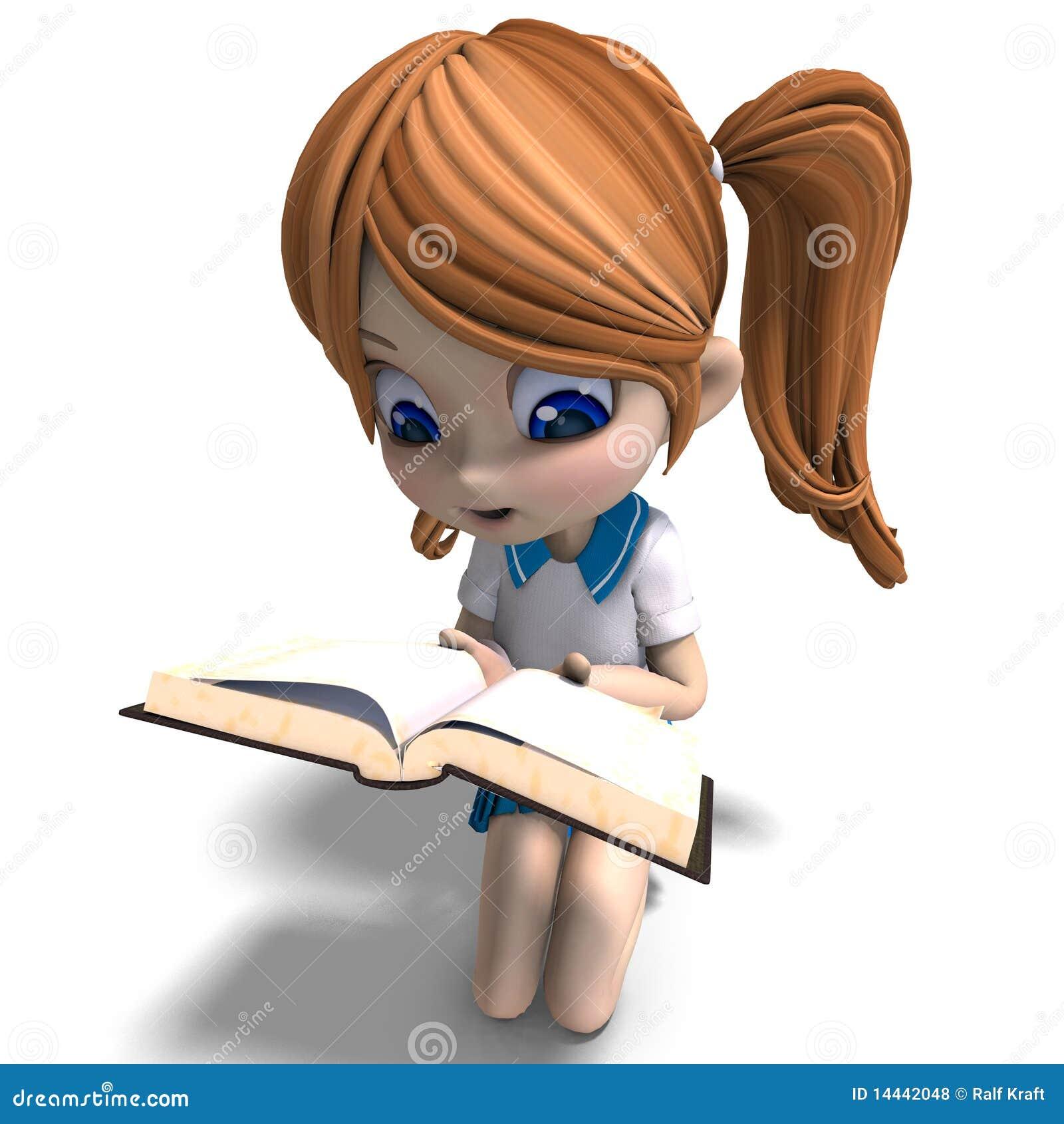 La Petite Fille Mignonne D Ecole De Dessin Anime Affiche Un