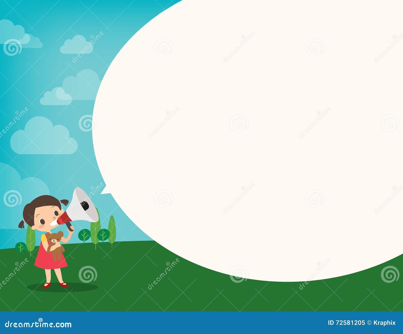 La petite fille sur le mégaphone font une annonce avec la parole de bulle