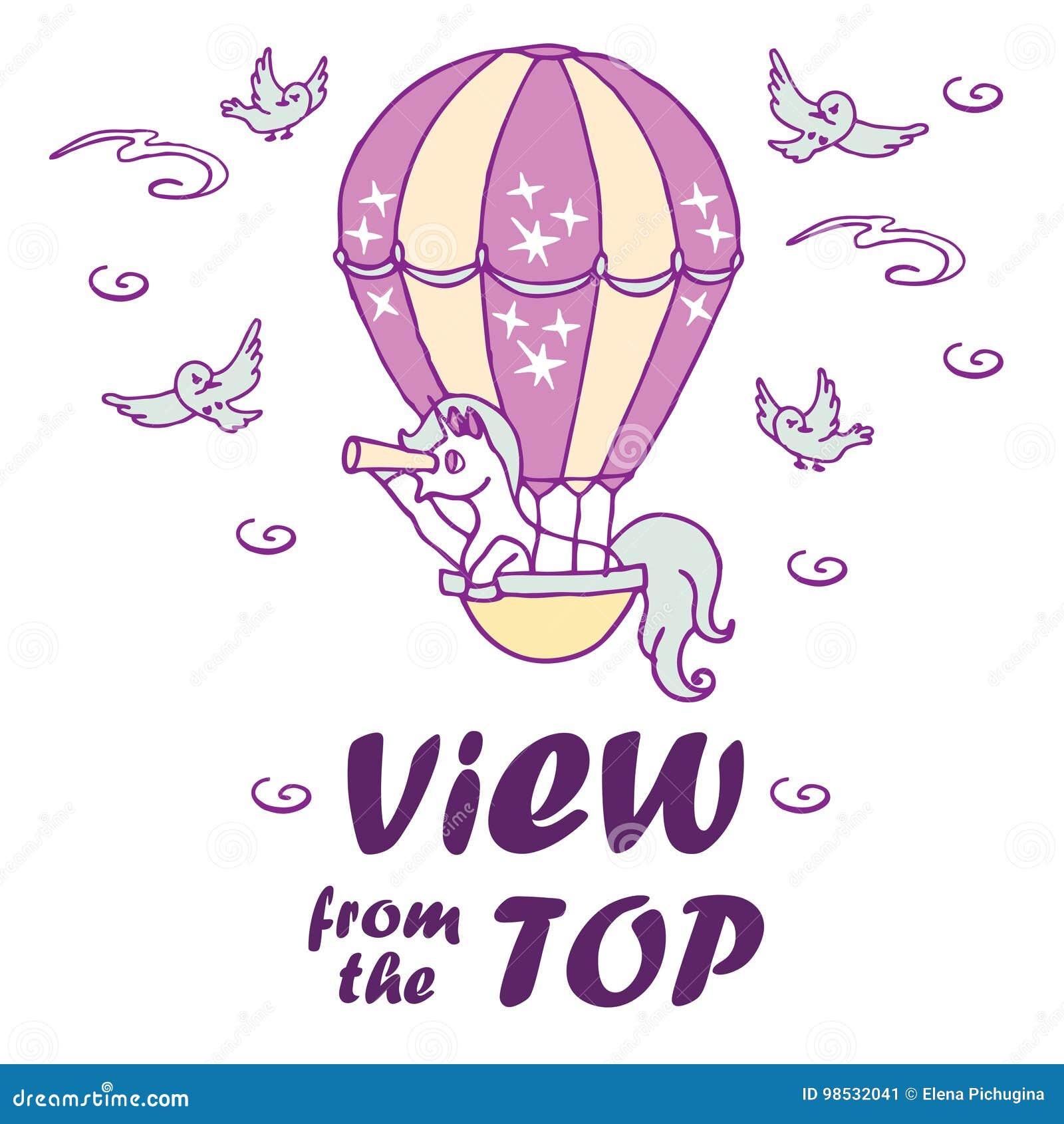 La petite licorne dans le ballon à air regarde dans un regard
