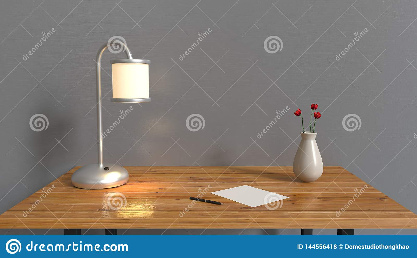 La pièce grise et la table en bois, vase à papier blanc de stylo de lampe avec la fleur rouge sur les intérieurs 3d de table r