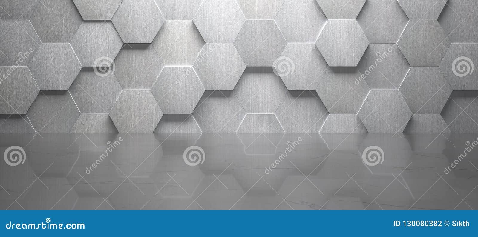 La pièce vide avec le plancher de mur et de marbre carrelé 3d rendent