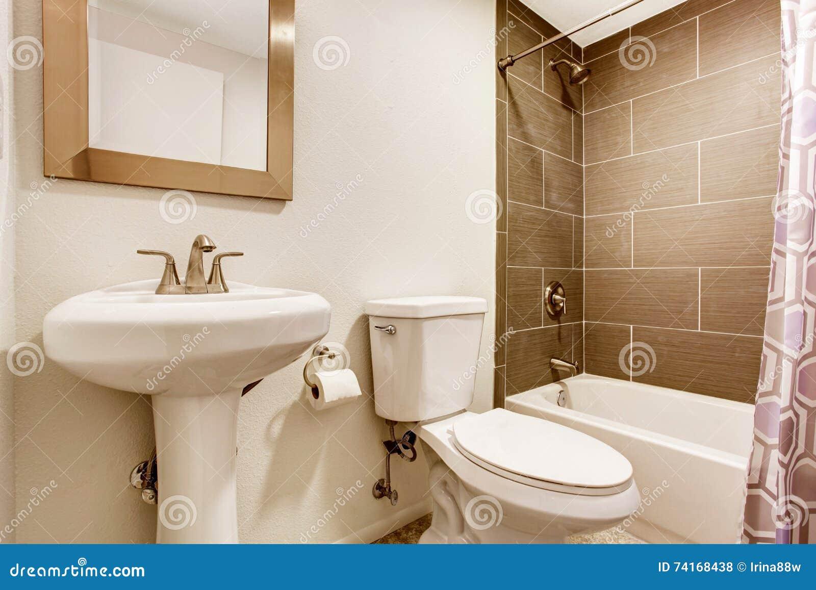 la pi ce moderne de cuisine avec la douche de mur de tuile la toilette et le lavabo se tiennent. Black Bedroom Furniture Sets. Home Design Ideas