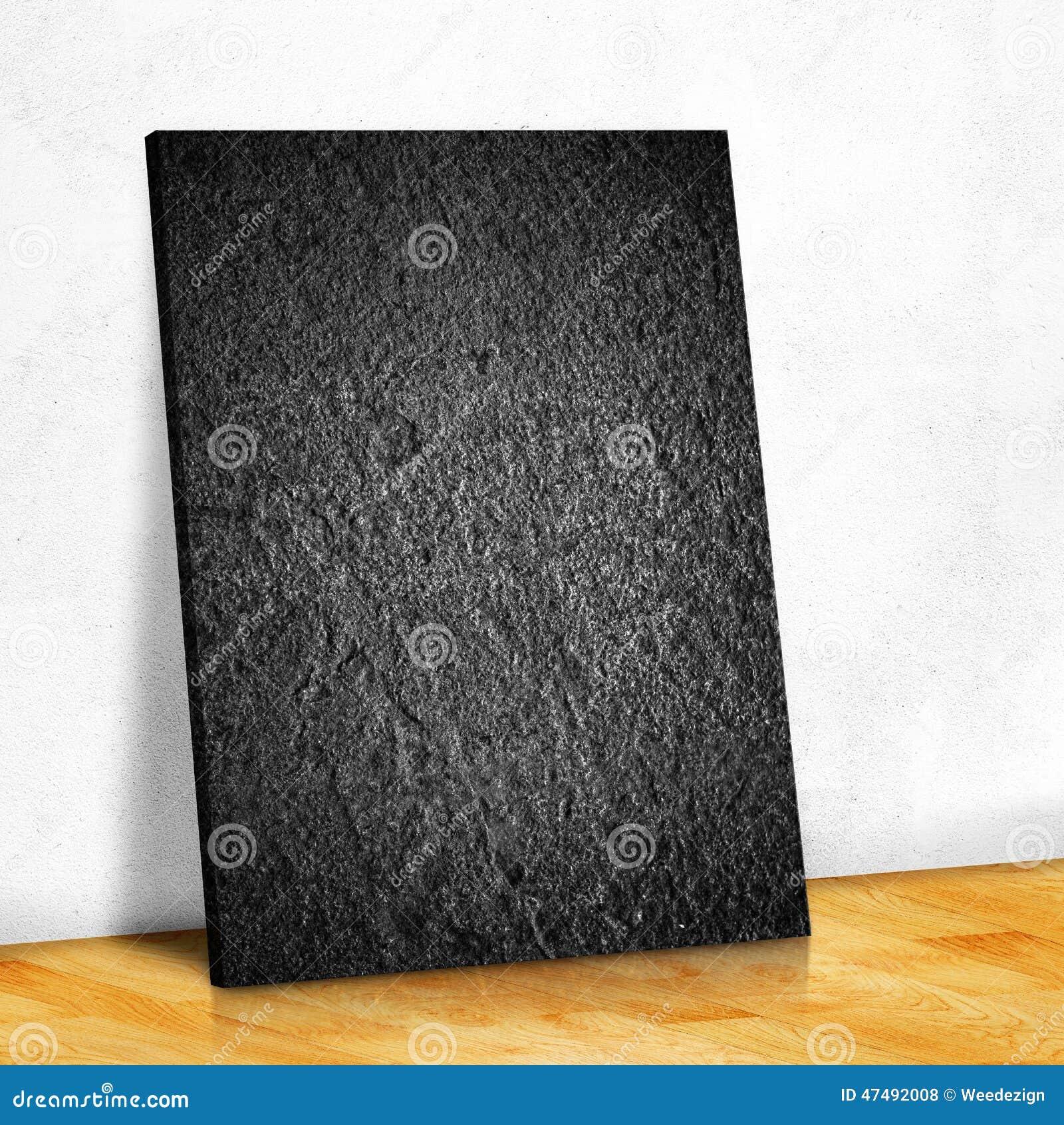 La Pietra Nera Sulla Parete Bianca E Sul Pavimento Di Parquet Di Legno, Deride Su Illustrazione ...