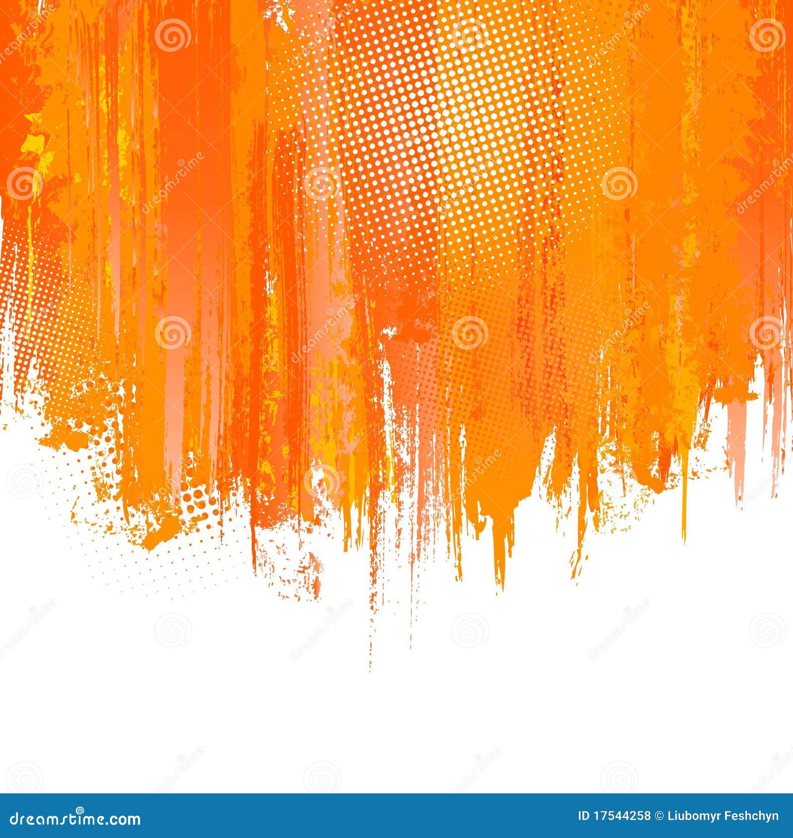 La pintura anaranjada salpica el fondo. Vector
