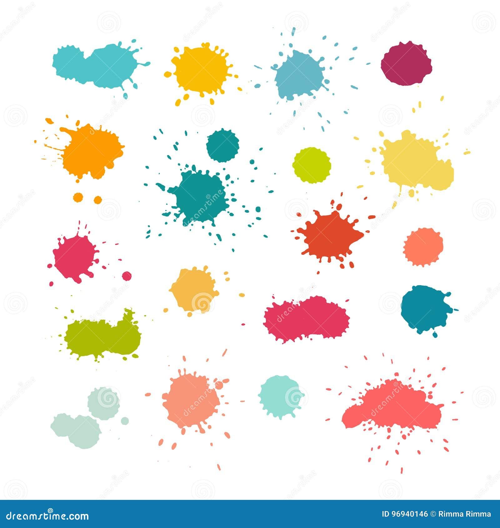 La pintura colorida salpica y cae