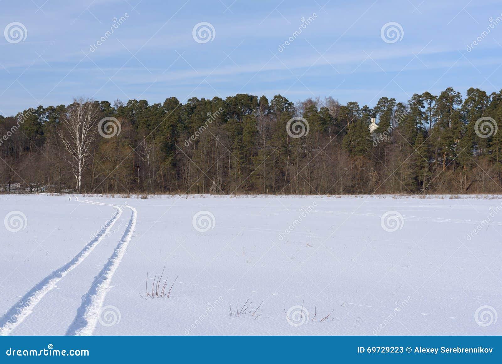 La pista en un campo nevado que se va lejos