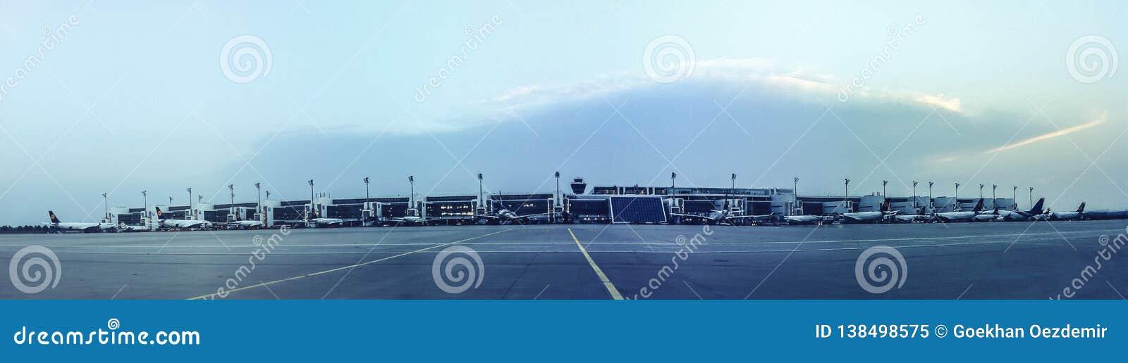 La piste de roulement et les avions d aéroport aux portes aménagent en parc