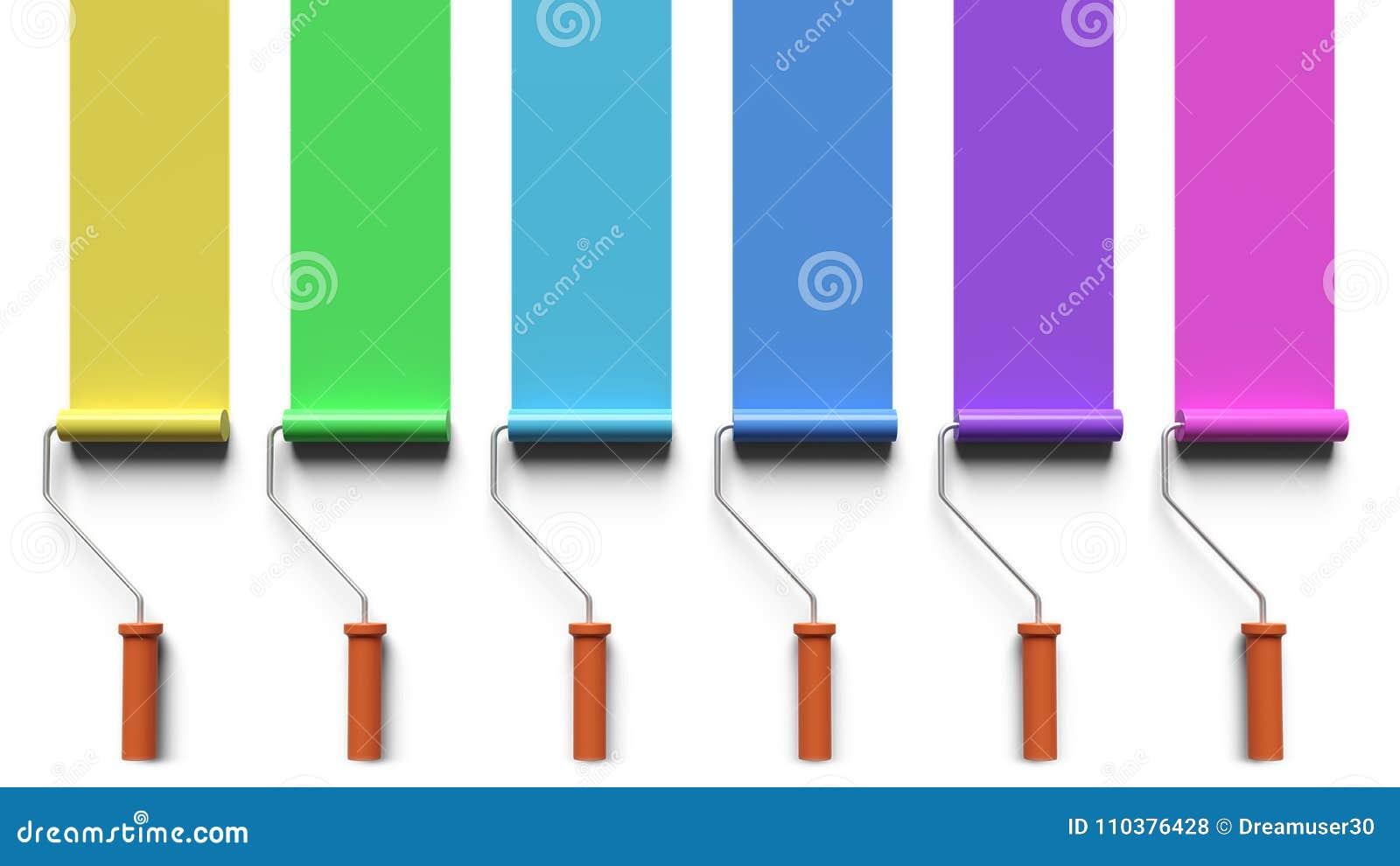 La pittura con il rullo di pittura spazzola la rappresentazione 3d