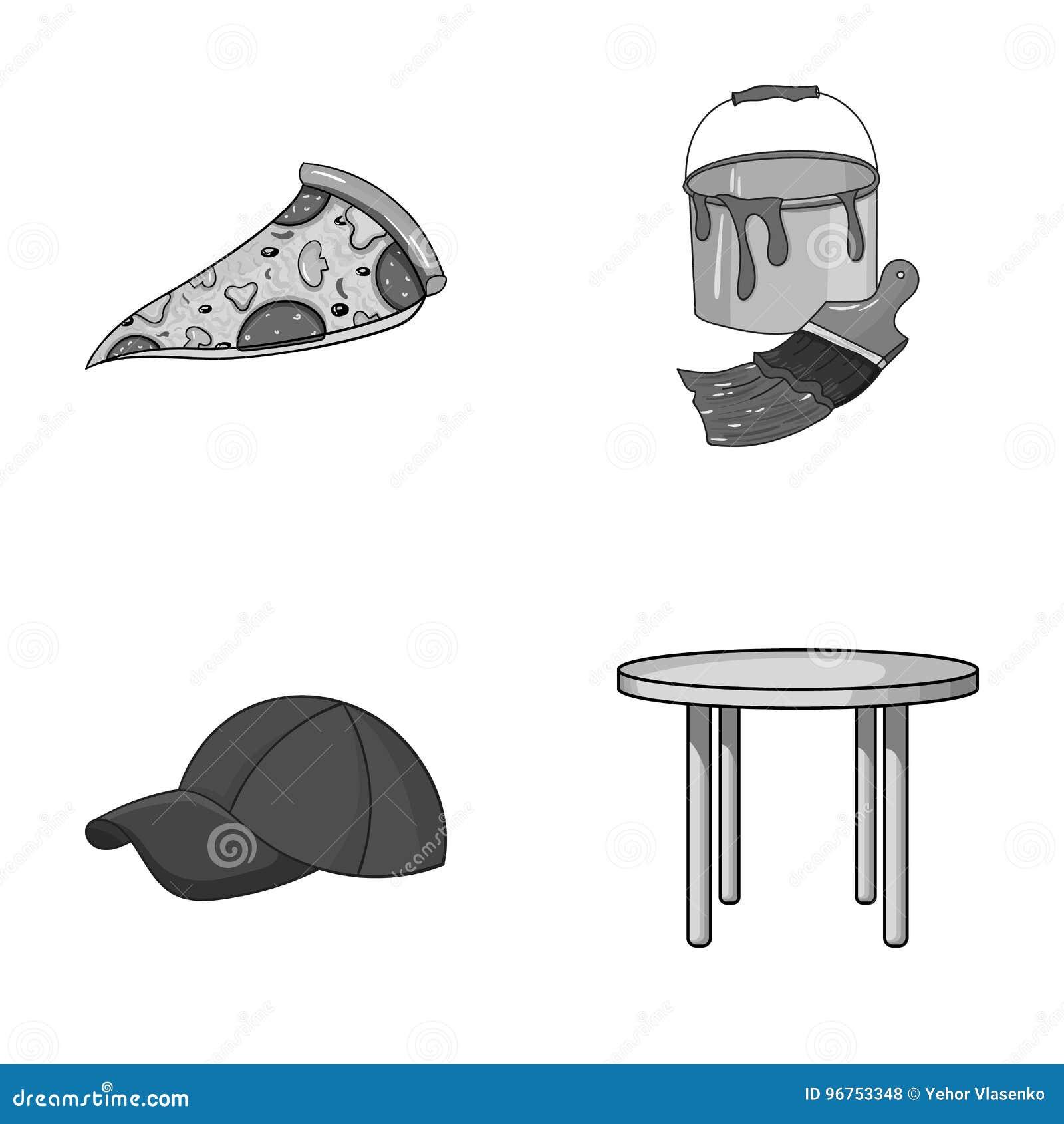 La Pizzer A La Ropa Y El Otro Icono Monocrom Tico En Estilo De La  # Muebles Pizzeria