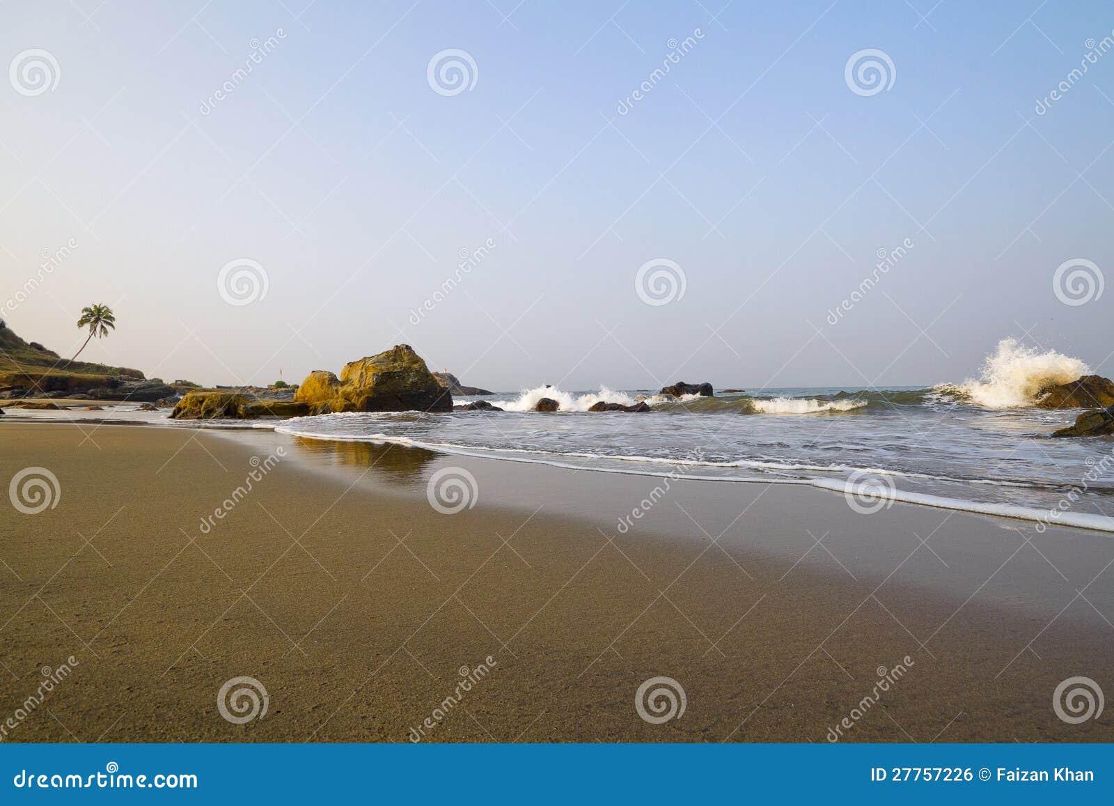 La plage et la mer ondule dans Goa