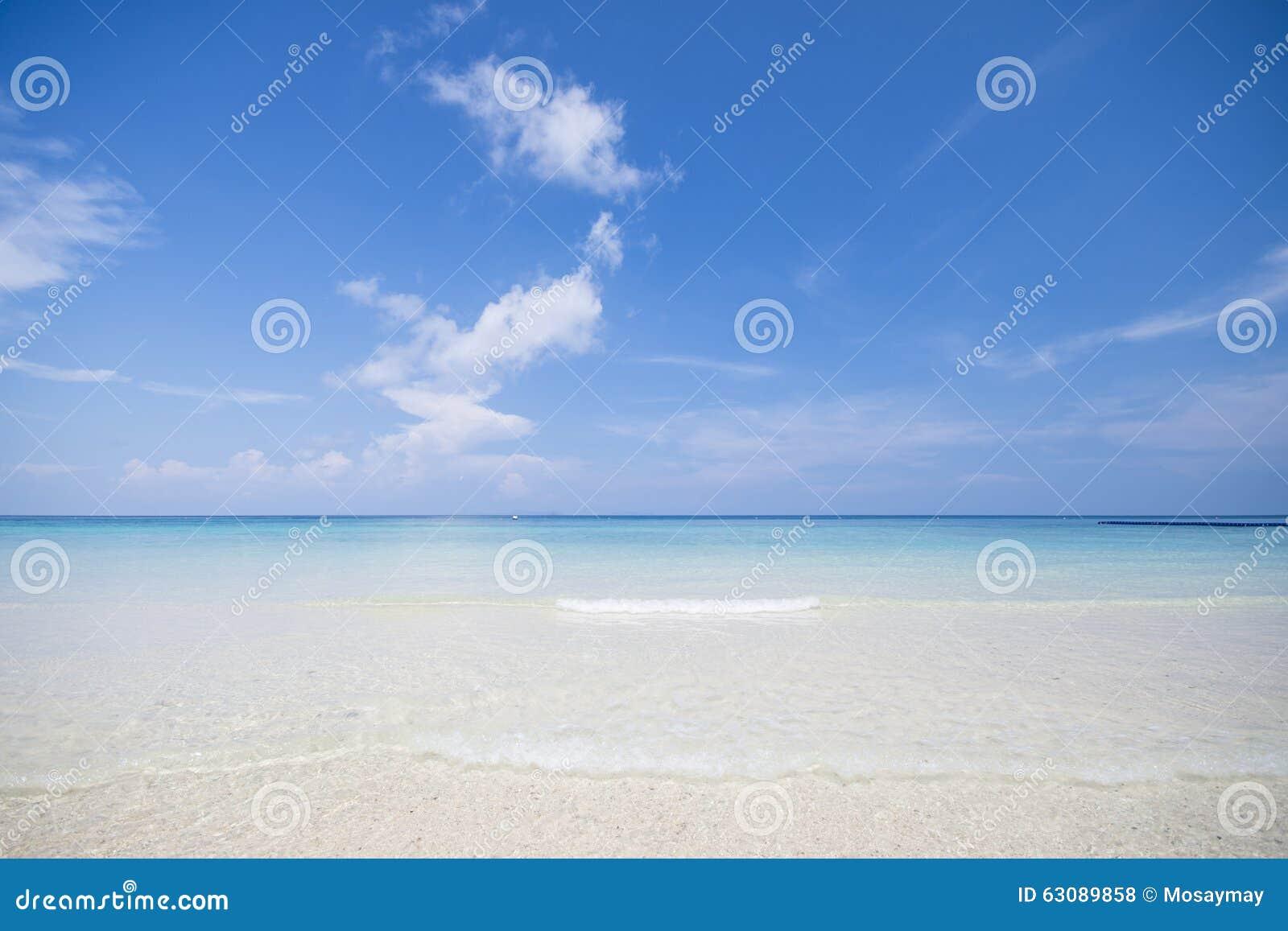 Download La Plage Tropicale Avec Le Ciel Bleu Et La Mer Bleue Calme Surfent Photo stock - Image du tonne, beau: 63089858