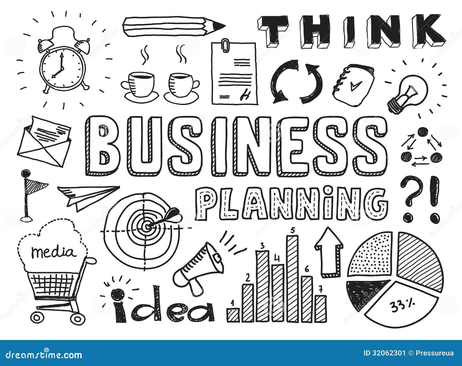 La planificación de empresas garabatea elementos
