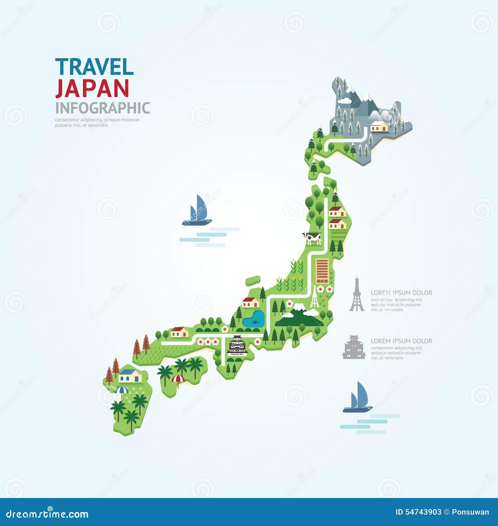 La Plantilla De La Forma Del Mapa De Japón Del Viaje Y De La Señal ...