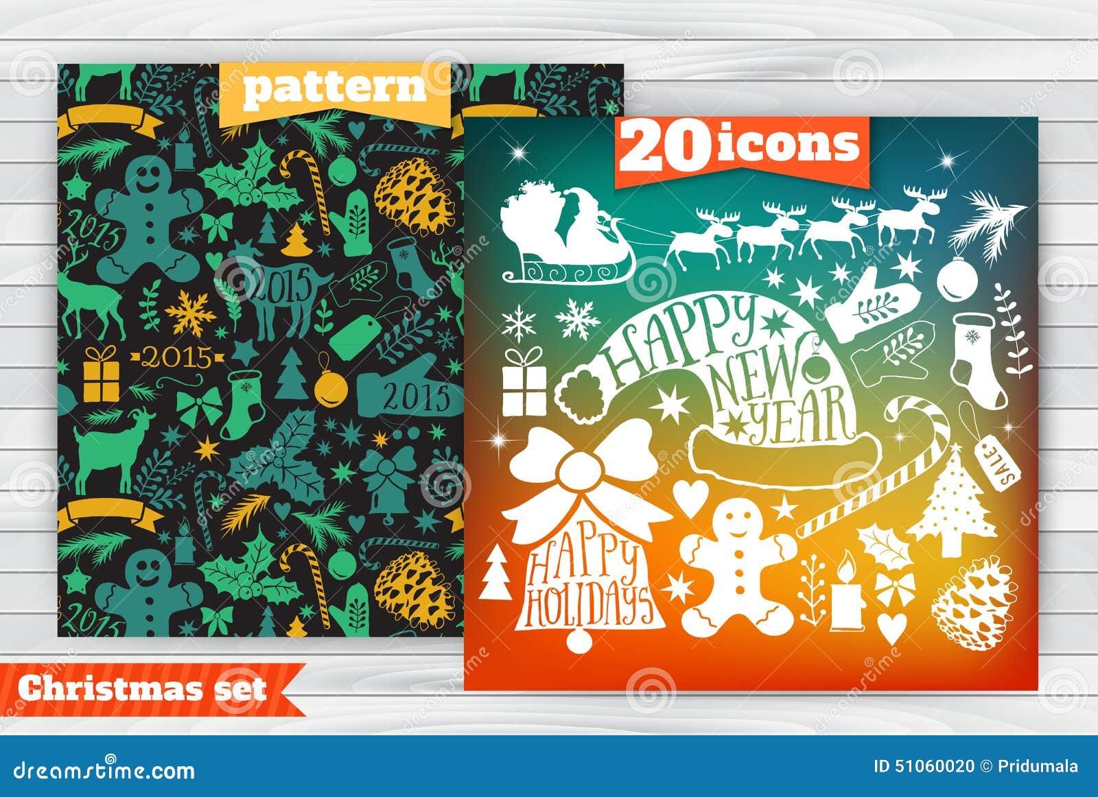 La plantilla de la tarjeta de felicitación de la Navidad, vector la colección de la Feliz Navidad, iconos del paquete del Año Nue