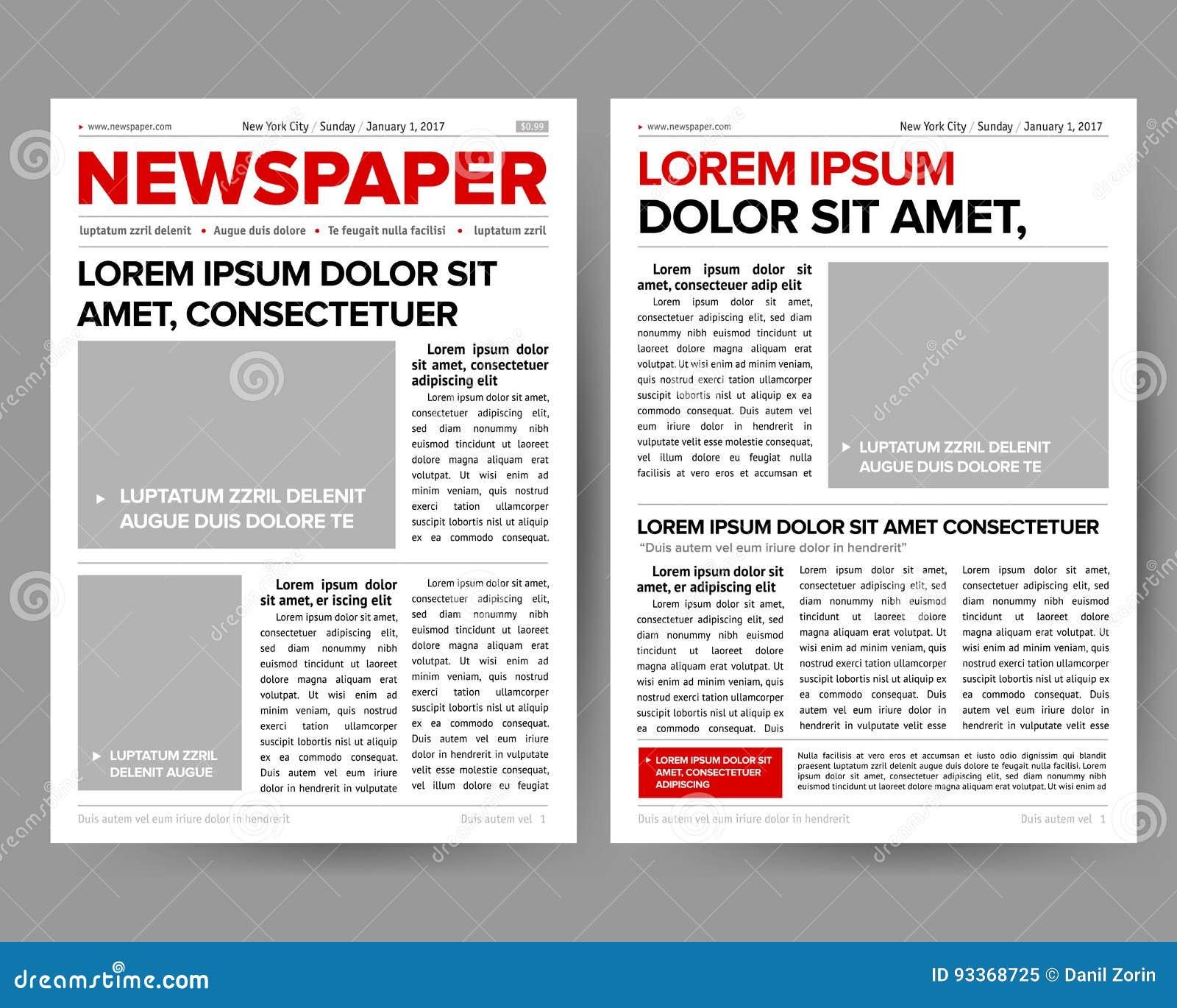 La Plantilla Del Diseño Del Diario Del Diario Con La Dos-página Que ...