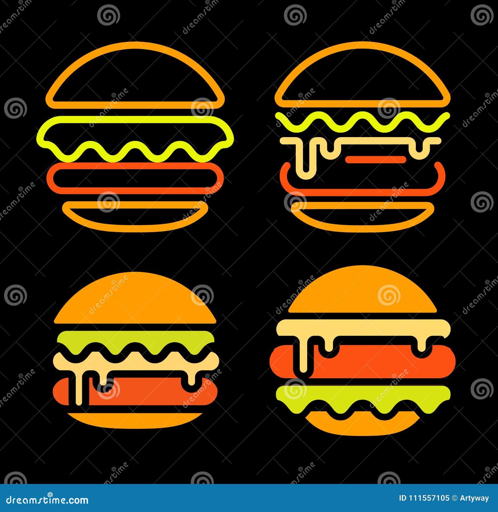 La plantilla determinada del esquema de la hamburguesa del logotipo abstracto del vector, los alimentos de preparación rápida ais