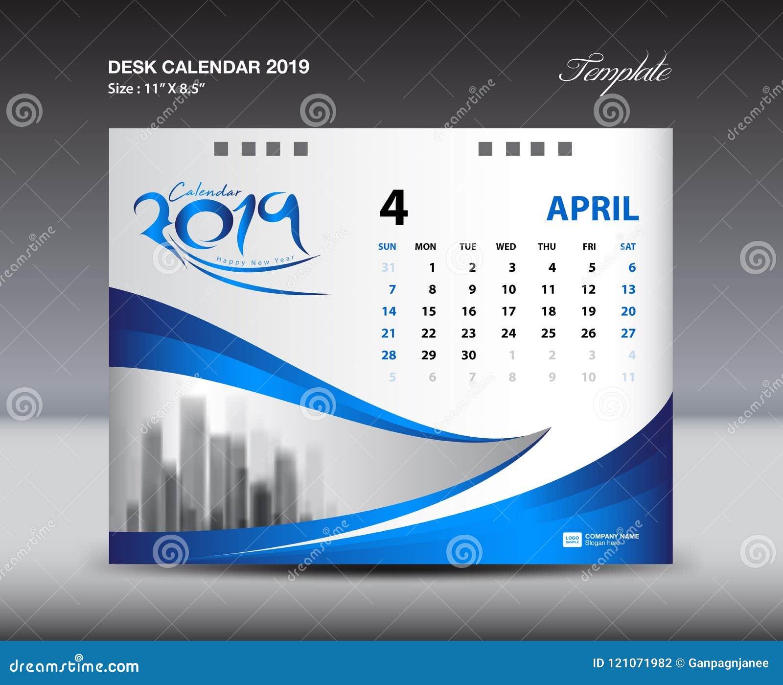 La plantilla 2019, semana de APRIL Desk Calendar comienza domingo, diseño de los efectos de escritorio, vector del diseño del avi