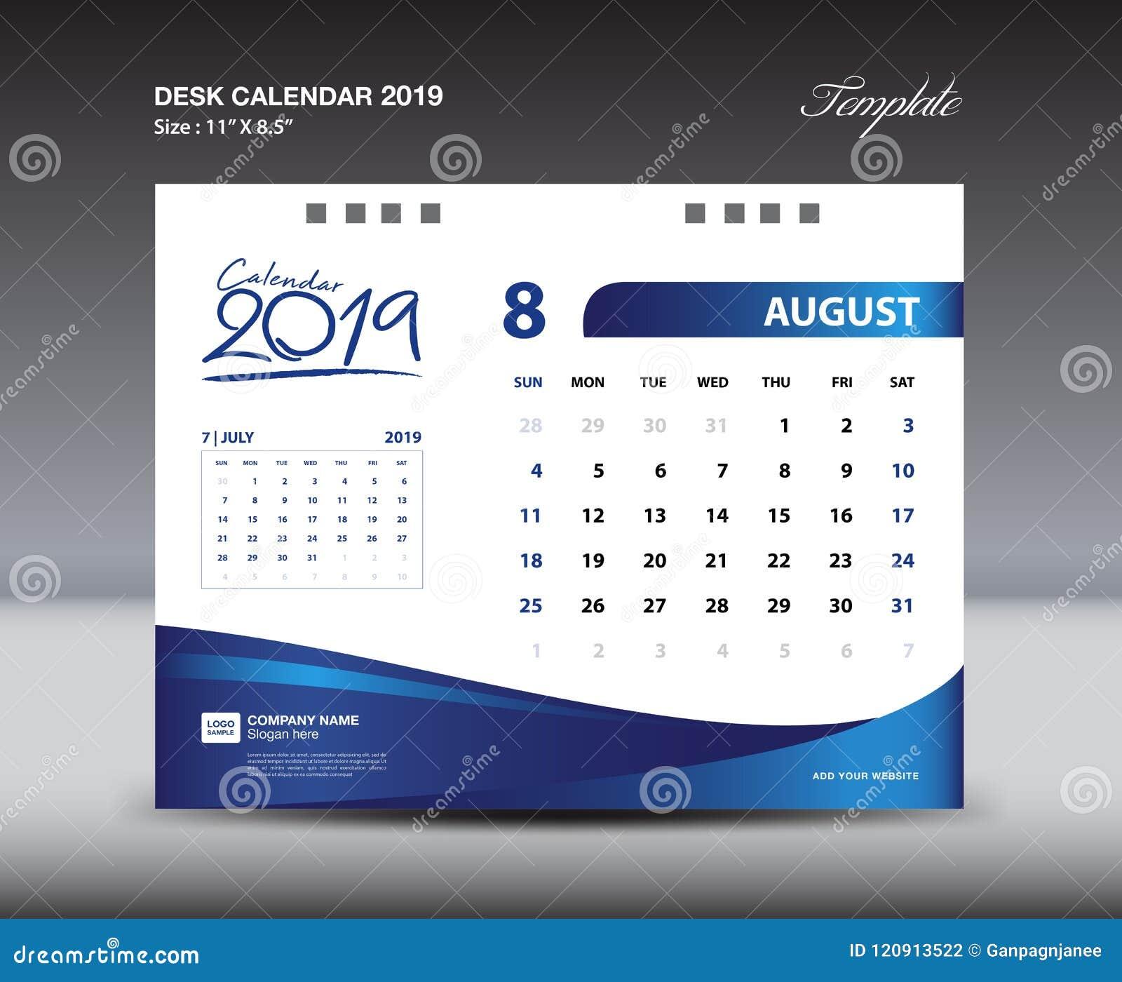 La plantilla 2019, semana de AUGUST Desk Calendar comienza domingo, diseño de los efectos de escritorio, vector del diseño del av
