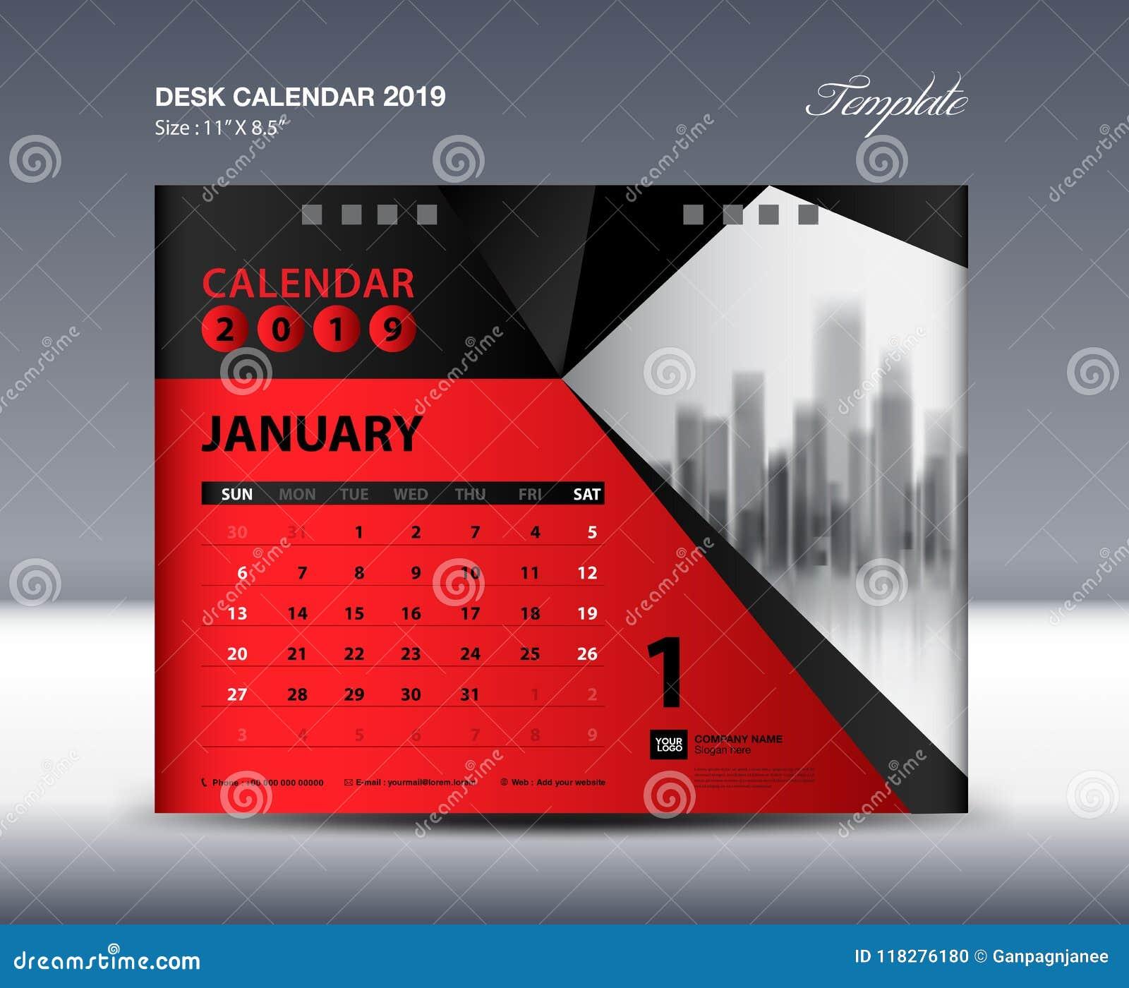 La plantilla 2019, semana del calendario de escritorio de enero comienza domingo, diseño de los efectos de escritorio, vector del