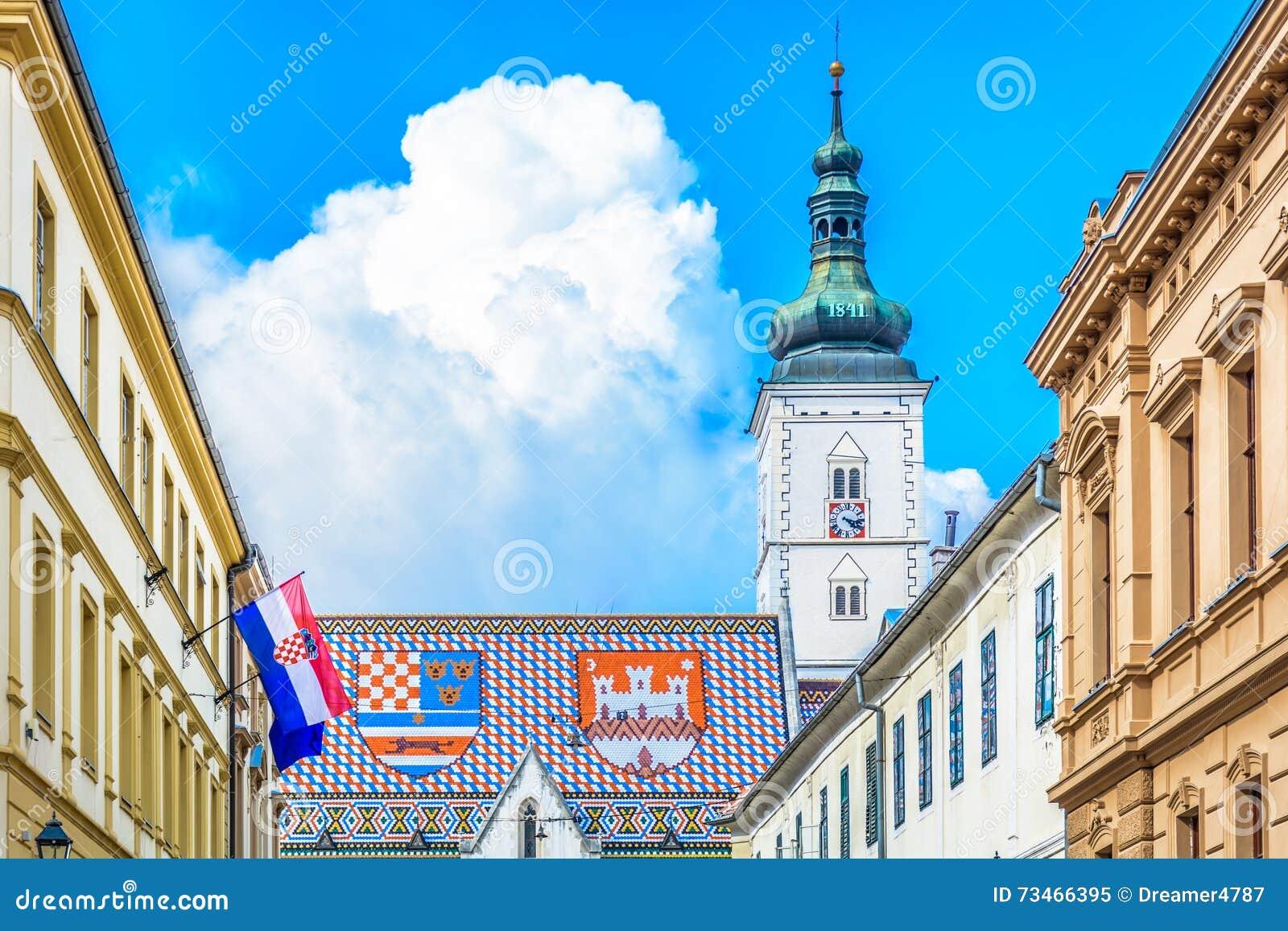La Plaza de San Marcos en Zagreb, Croacia
